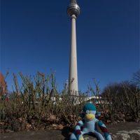Affe vor dem Berliner Fernsehturm