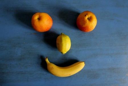 Apfel, Zitrone und Bananen-Gesicht