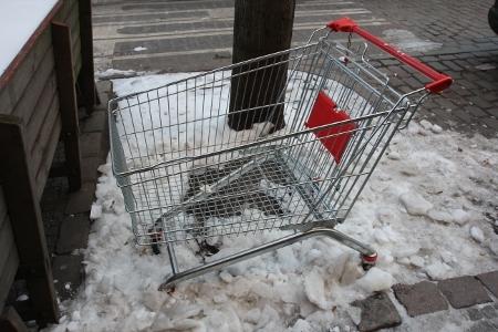 Allein gelassener Einkaufswagen