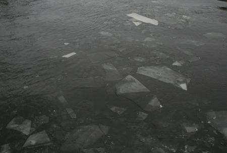 Eis schwimmt auf der Spree in Berlin