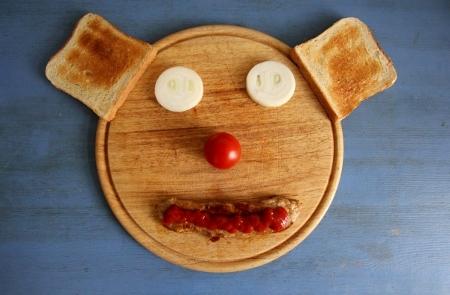 Schnitzel und Toast-Gesicht