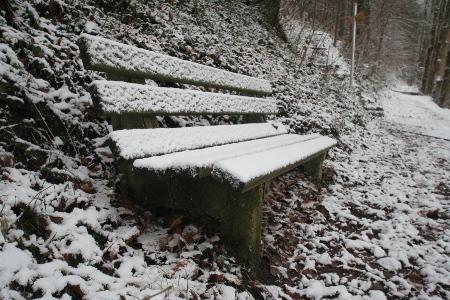 Winter 2009 - Schnee auf der Bank...